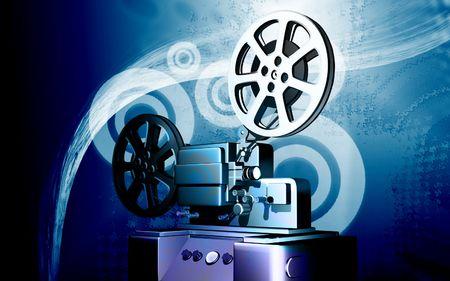 Digital illustration of vintage projector in colour background Stock Illustration - 6324769