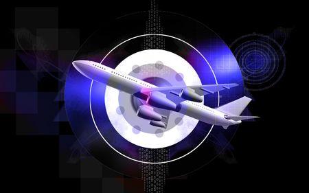 aeronautic: Digital illustration of Aeroplane with colour background