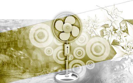Digital illustration of  a pedestal fan in colour background Stock Illustration - 6324898