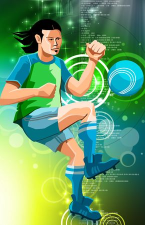 Illustration of a Soccer player in colour background  illustration
