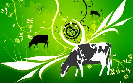 cattle grazing: Illustration of a cow in eating grass