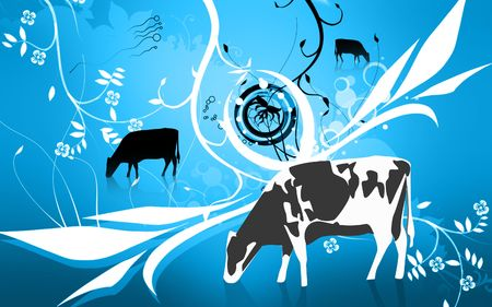 Illustration of a cow in eating grass  Stock Illustration - 6325062