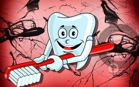 chew: Illustration of a teeth and brush  with background