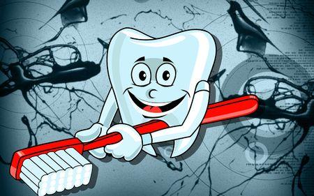 diente caricatura: Ilustraci�n de un dientes y pincel con fondo