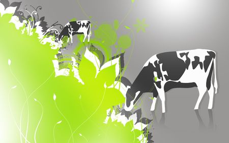 Illustration of a cow in eating grass Stock Illustration - 6325026