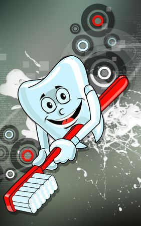 cleaning teeth: Illustration of a teeth and brush  with background