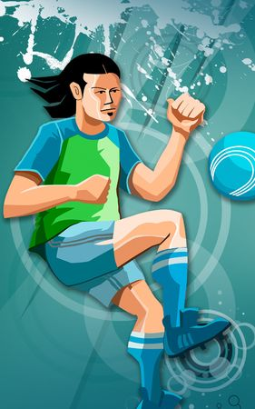 number cartoon: Illustration of a Soccer player in a food ball