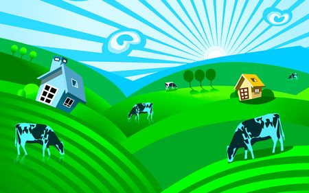 Illustration of House and cow in graze