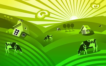 Illustration of House and cow in graze Stock Illustration - 6324987