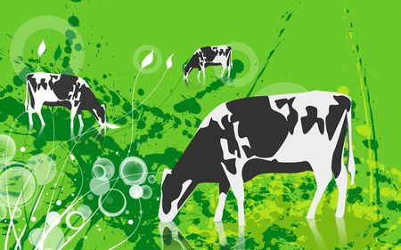 Illustration of a cow in eating grass  Stock Illustration - 6366476