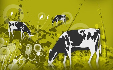Illustration of a cow in eating grass  Stock Illustration - 6366656
