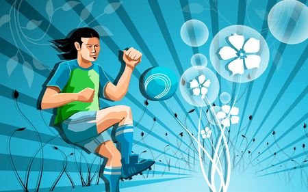 Illustration of a Soccer player in a food ball   illustration