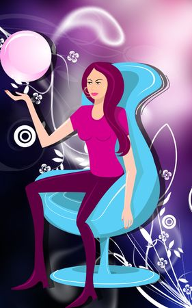 destiny: Illustration of a destiny, fashion girl is sitting   Stock Photo
