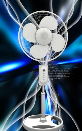 Digital illustration of  a pedestal fan in colour background  Stock Illustration - 6366789