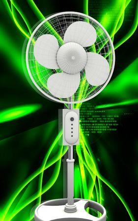 Digital illustration of  a pedestal fan in colour background Stock Illustration - 6366802