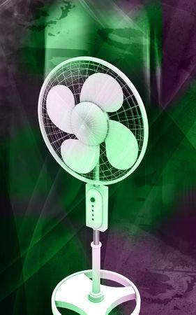 Digital illustration of  a pedestal fan in colour background  Stock Illustration - 6412916