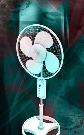 Digital illustration of  a pedestal fan in colour background Stock Illustration - 6414143
