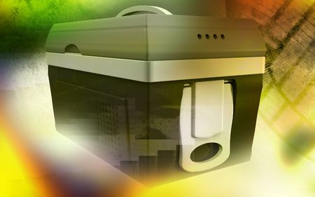 refrigerated: Digital illustration of  a Esky in colour background