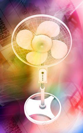 Digital illustration of  a pedestal fan in colour background   illustration