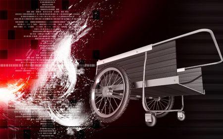 Digital illustration of garden cart in colour background  illustration