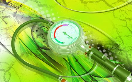 bicycle pump: Digital illustration of Air tyre inflator in colour background Stock Photo