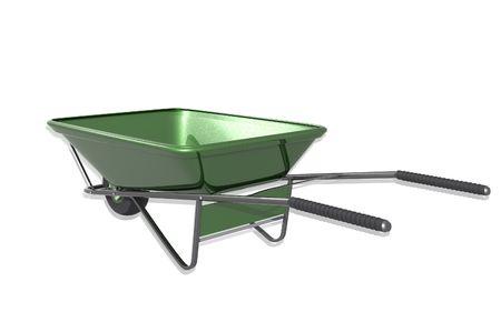 wheel barrow: Digital illustration of metal tray wheel barrow in isolated background
