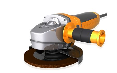 angle grinder: Digital illustration of angle grinder in isolated background