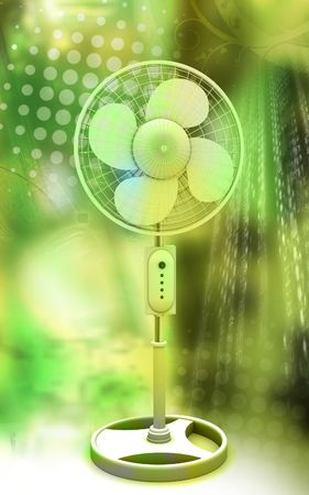 Digital illustration of  a pedestal fan in colour background  Stock Illustration - 6526797