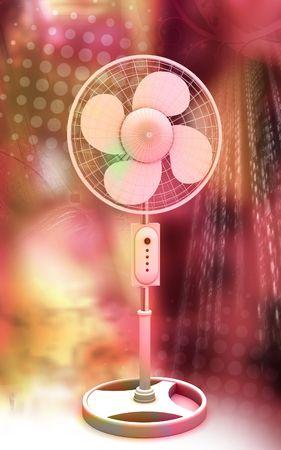 Digital illustration of  a pedestal fan in colour background Stock Illustration - 6526727