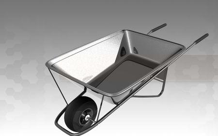 Digital illustration of metal tray wheel barrow in isolated background  illustration