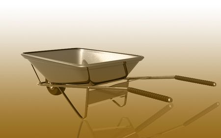 Digital illustration of metal tray wheel barrow in colour background Stock Illustration - 6526812