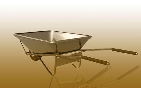 wheel barrow: Digital illustration of metal tray wheel barrow in colour background