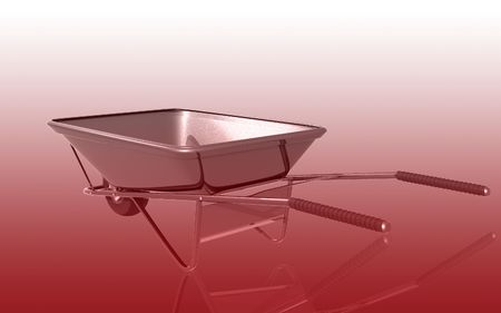 Digital illustration of metal tray wheel barrow in colour background  illustration