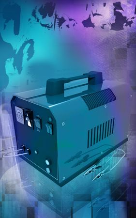 cell charger: Digital illustration of Battery charger in colour background