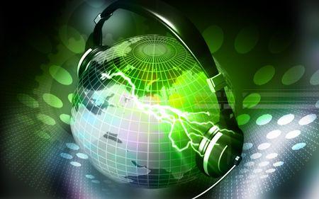Digital illustration of a globe with head phone  illustration