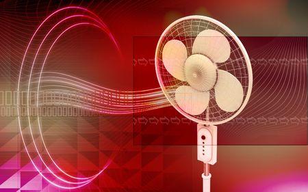 Digital illustration of  a pedestal fan in isolated  background   illustration