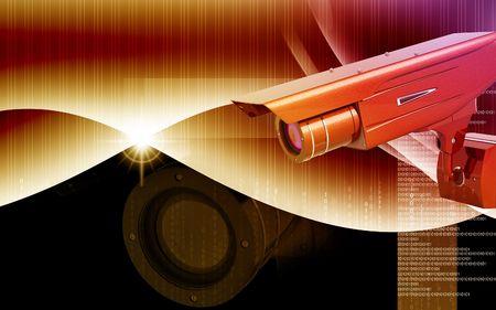 surveillance camera: Digital illustration of security camera in colour background