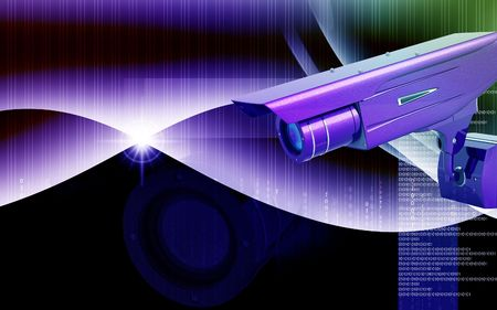 security system: Digital illustration of security camera in colour background
