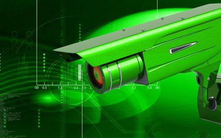 Digital illustration of security camera in colour background Stock Illustration - 6744053