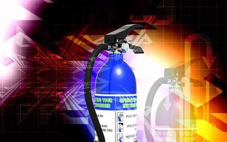 Digital illustration of fire extinguisher in colour background Stock Illustration - 6744069