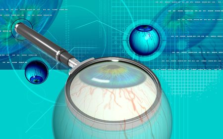 Digital illustration of  eye and magnifying glass  in  colour  background   illustration