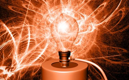 ignited: Digital illustration of bulb is ignited by cell