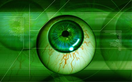 vitreous: Digital illustration of  eye   in  colour  background   Stock Photo