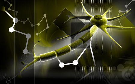 Digital illustration of  neuron  in colour  background   illustration