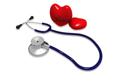 Digital illustration  of stethoscope and heart in isolated background  illustration