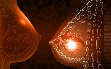 Digital illustration of breast cells in colour background    Banco de Imagens