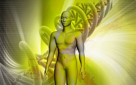 nucleic: Digital illustration of  human body in colour  background   Stock Photo