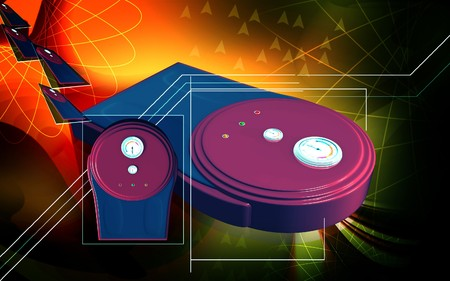 Digital illustration of weigh machine  in colour background   illustration