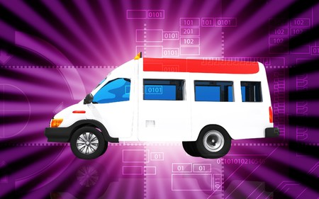 Digital illustration of  ambulance in colour  background   illustration