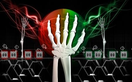 Digital illustration of hand bone in colour background Stock Illustration - 6892542